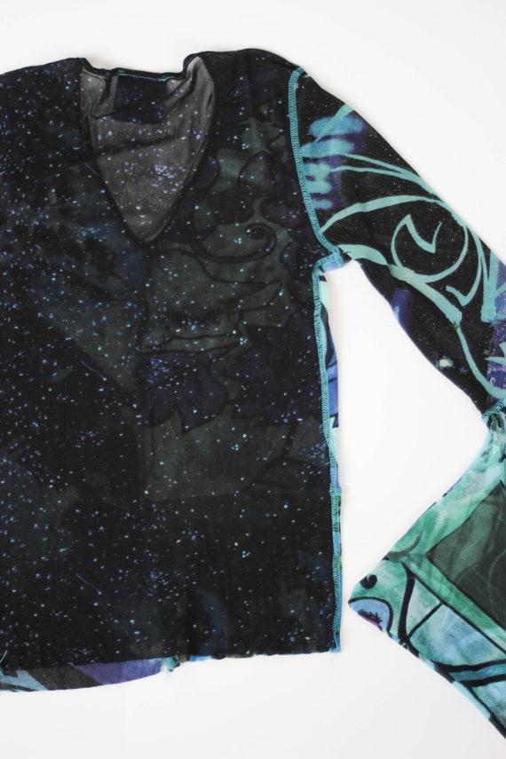 90s Kenzo mesh top kimono sleeve stretch tulle to… - image 9