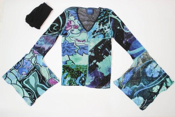 90s Kenzo mesh top kimono sleeve stretch tulle top