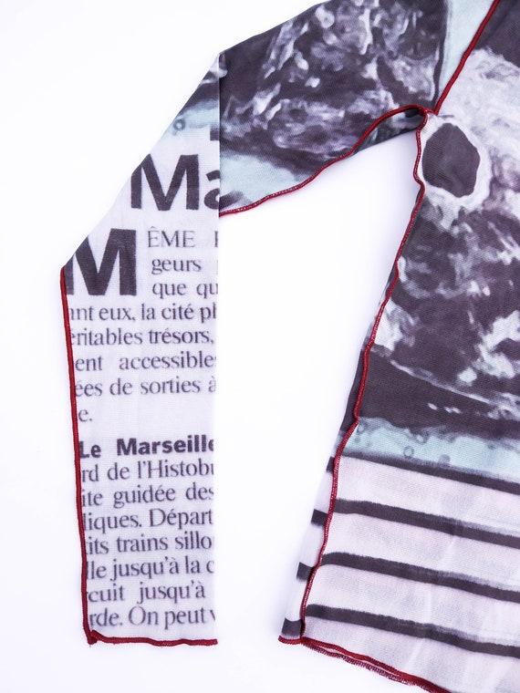 90s mesh top newspaper print mesh top aquatic the… - image 2