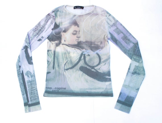 90s art painting print mesh top Cop Copine art pri