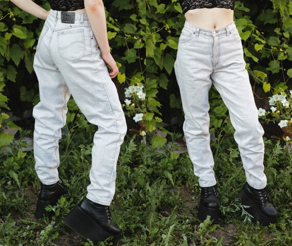 Unisex Mens High Waist Bright Jeans Pale Blue Whit