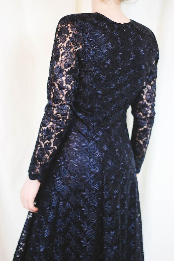 Blue Vintage Dress Fitted Elegant Lace Black Dress 80s Collar Dress Elegant 90s Maxi Dress Square Lace Vintage Formal Lace Guipure Dress qdq40pt