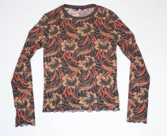 90s Kenzo floral mesh top art print stretch tulle… - image 1