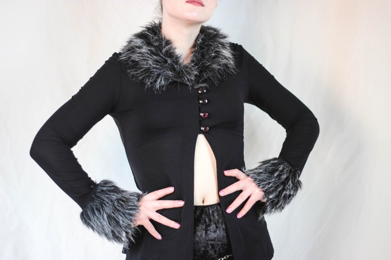 RARE 90s sassy black mesh and faux fur top mandala back top open belly top black mandala top