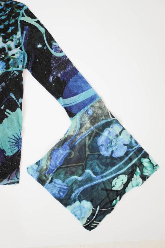 90s Kenzo mesh top kimono sleeve stretch tulle to… - image 4