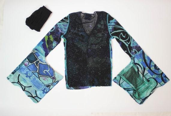 90s Kenzo mesh top kimono sleeve stretch tulle to… - image 8