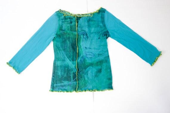 90s mesh top blue green art print mesh top face pr