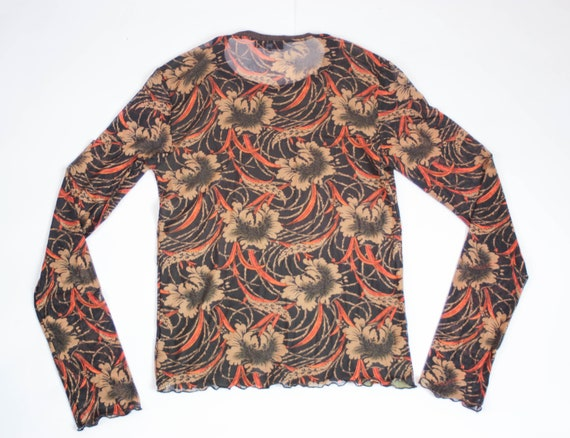 90s Kenzo floral mesh top art print stretch tulle… - image 8
