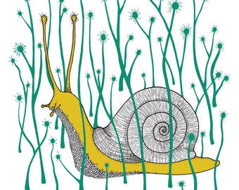 Snail Risograph Print