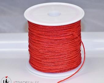 Scarlet red teething nursing sensory cord 10 or 20 yard 1.5mm nylon cord  satin cord rattail cord bugtail necklace bracelet kumihimo macrame