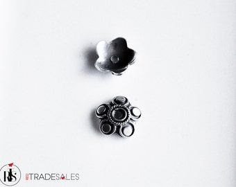 2 Sterling silver bead caps for 13mm beads - Bali ornament bead cap - bcpo011