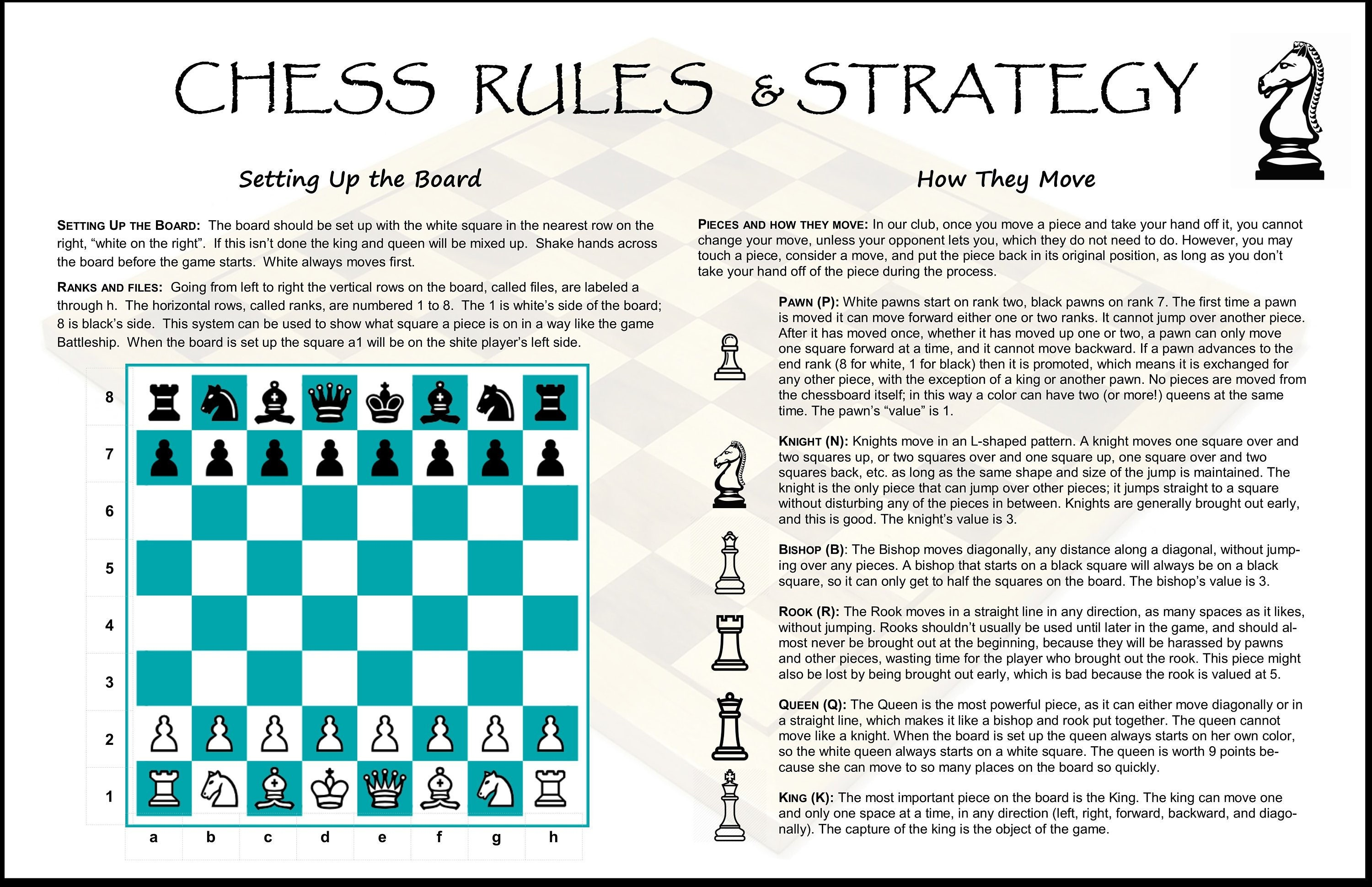 Chess Set Rules & Strategy Laminated Poster 11 x 17 Double ...