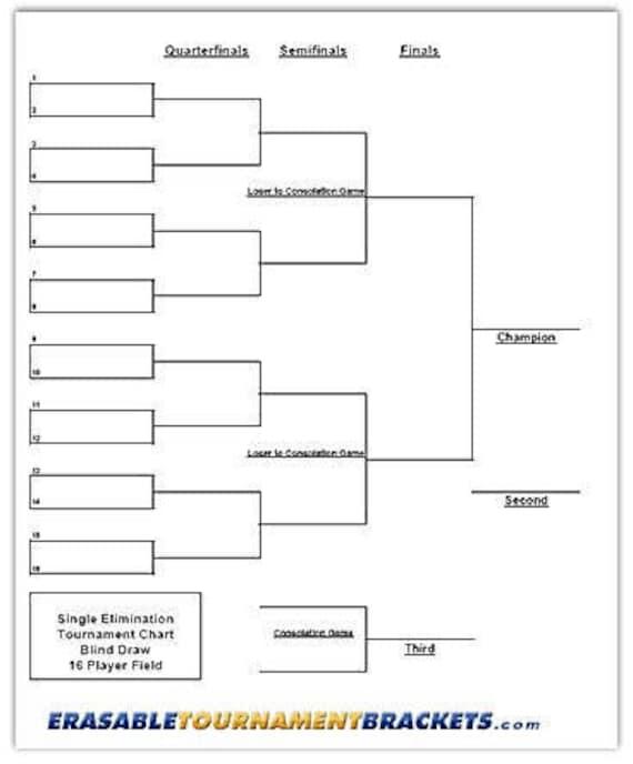 Cornhole Erasable Tournament Bracket Single Elimination Etsy