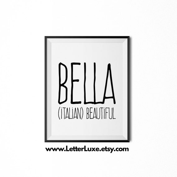 Bella Name Meaning Art  Printable Baby Shower Gift  Nursery