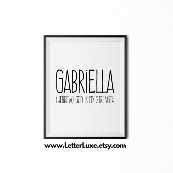 gabriella name meaning art printable baby shower gift etsy
