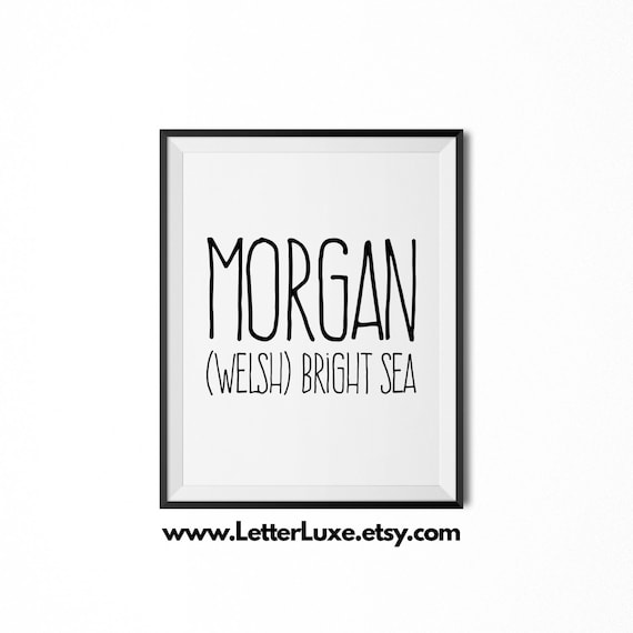 Morgan Name Meaning Art  Printable Baby Shower Gift  Nursery