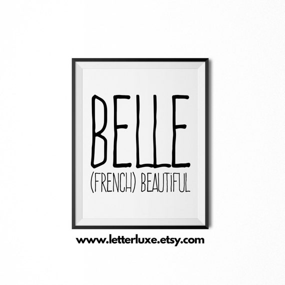 Belle name meaning art printable baby shower gift nursery negle Images