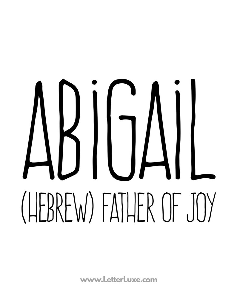 Abigail Name Meaning Art Printable Baby Shower Gift | Etsy