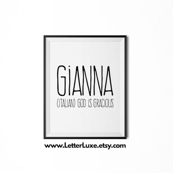 Gianna name meaning art printable baby shower gift nursery etsy image 0 stopboris Images