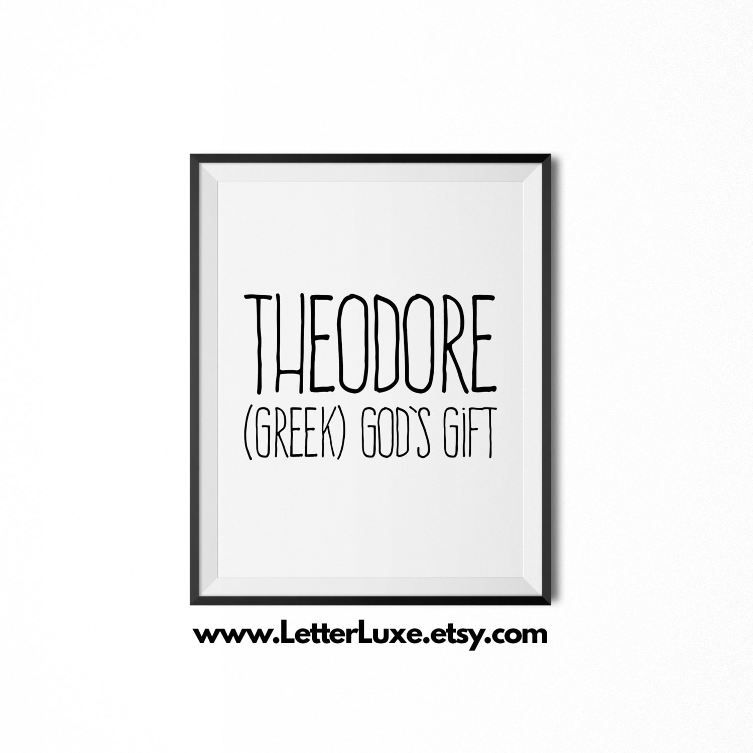 Theodore name meaning art printable baby shower gift zoom negle Choice Image