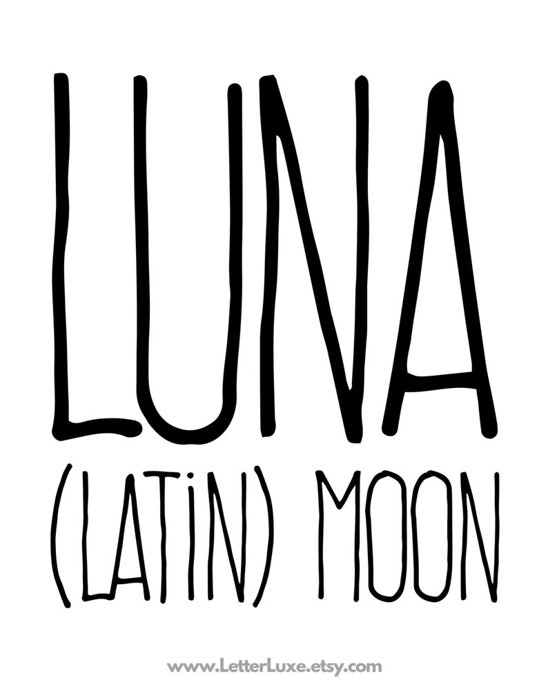 Luna Name Meaning Art Printable Baby Shower Gift Nursery ...