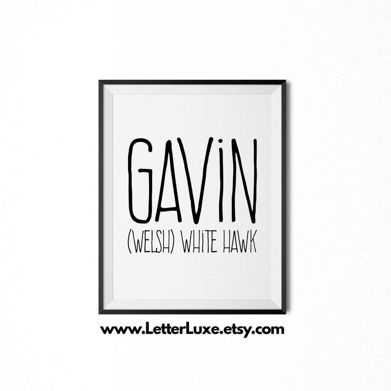 Gavin Printable Kids Gift Name Meaning Art Baby Shower | Etsy