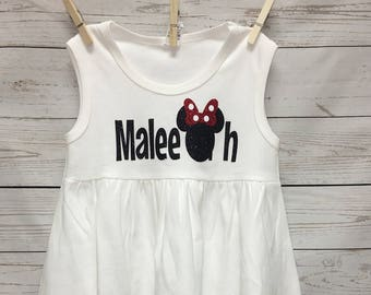Minnie Mouse Dress, Personalized Name Dresses, Minnie Dress, Personalized Dress, Girls clothing, Toddler girl clothing, toddler girl dresses