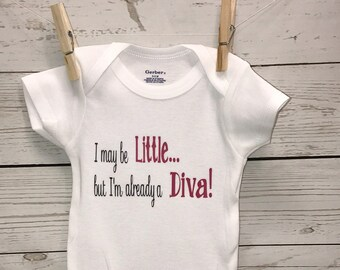 Diva Onesie, Funny Onesie, Baby girl onesie, New Baby, New Baby Gift, Baby Girl Clothing, Girls Clothing, Clothing, Bodysuits, Little Diva,