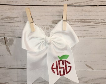 Monogrammed hairbow, apple hairbow, back to school bow, school hair bow, personalized hair bow, custom hairbow, hairbow, clips, accessories,
