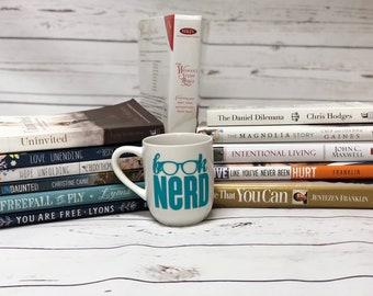 Livre Nerd tasse à café, tasse à café Unique, blanc tasse à café, Mug personnalisé, déclaration Mug, tasse de café, idée cadeau Mug, idée cadeau, tasse à café