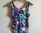 Women 39 s Medium - Vintage 80s Retro Bubble Print High-Rise Swimsuit