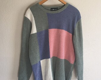 7075c82bd8 Women s Medium - Vintage 90s Color Block Knit Sweater ~ Sag Harbor