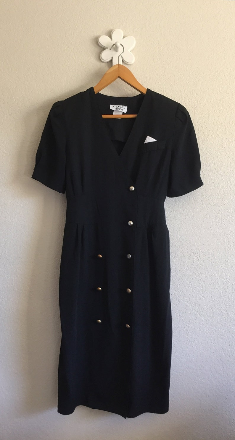 Vintage 80s Black Short Sleeve Double-Breasted Wrap Dress ~ DFL Fashions Women/'s Large