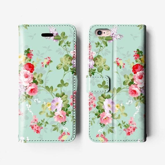 competitive price 6de12 2e406 Floral iPhone 8 / X wallet case, iPhone 7 case, iPhone 6s case, iPhone 6  plus case, leather case, mint green red B027B