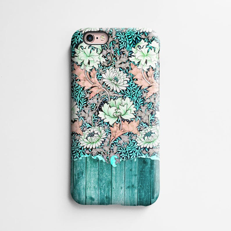 Vintage aqua floral iPhone 11 case