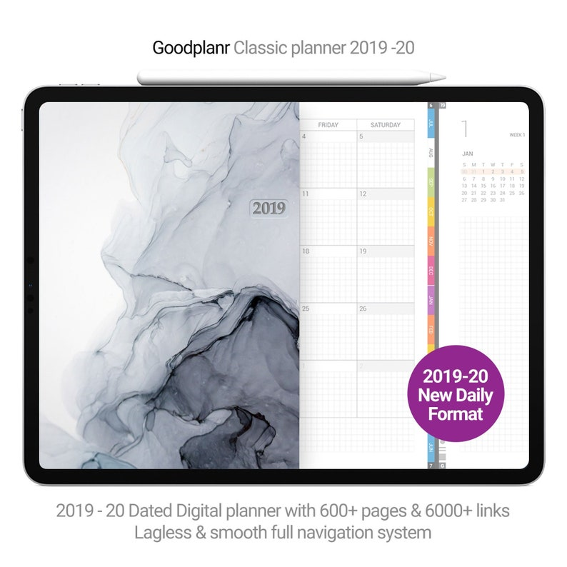 Goodnotes daily planner 1000+ pages 2019-20, 2 pages per day format, full  navigation links, iPad planner, Monday start, Sunday start