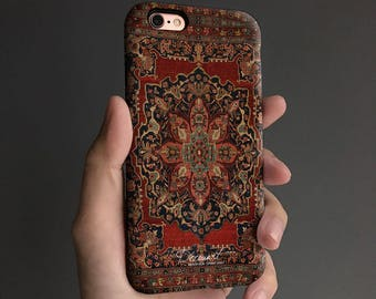 Floral carpet iPhone 8 case, iPhone X case iPhone 7 case, iPhone 6s case, iPhone 6 plus case,   tough case, black gray T147