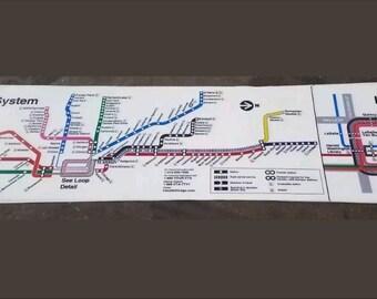 Chicago Transit Authority Subway Map.Chicago Transit Map Etsy