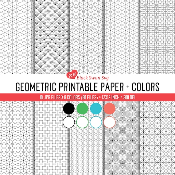 Scrapbook Paper | A set of 80 printable geometric shapes papers - 4  colors+negative, background * * ZIP FILE for instant download