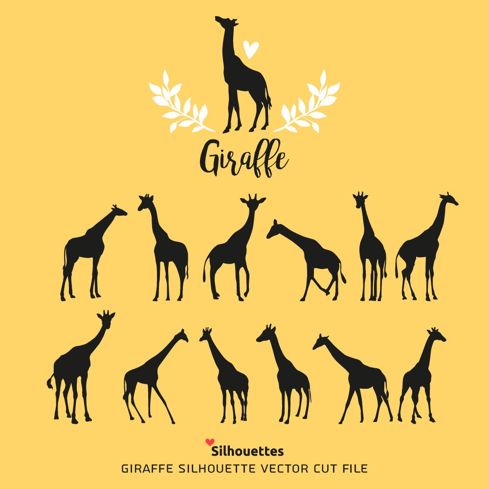 SVG Giraffe silhouettes eps svg dxf jpg png Paper and | Etsy
