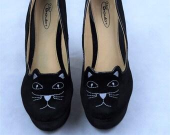 Vintage Velvet Black Cat Face Wedges, Vintage Shoes, Women's Shoes, Wedge, Shoes, Vintage High Heels, Vintage Wedges, Vintage
