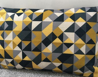 """Double-sided mustard yellow grey triangles bolster cushion cover 12x20"""" 30x50cm rectangle"""