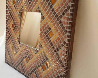 Mosaic mirror in chocolate brown/blue Square 12x12