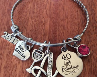40th Birthday Gift 40 And Fabulous Years Friend Bracelet Jewelry