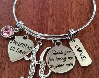 DAUGHTER IN LAW Gifts Daughter In Law Bracelet Thank You For Loving Me As Your Own Mothers Day Gift Birthday