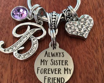 Personalized Sister Gifts Unique Birthday For Keychain Always My Jewelry