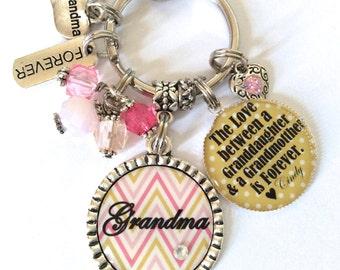 GRANDMA Gold Keychain, Grandma Bracelet, Grandma Keychain, Gift for Grandma, Grandma Gift, The Love Between A Granddaughter and Grandmother