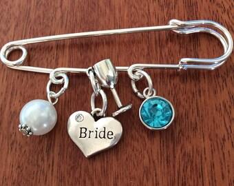 Bridal Pin, Something Old New Borrowed Blue, Wedding Pin, Something Blue Charm, Something Blue Wedding, Bride To Be Gift, Bride Gift, Bride