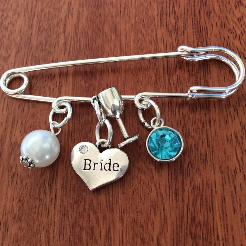 8b9336314 Bridal Pin Something Old New Borrowed Blue Wedding Pin