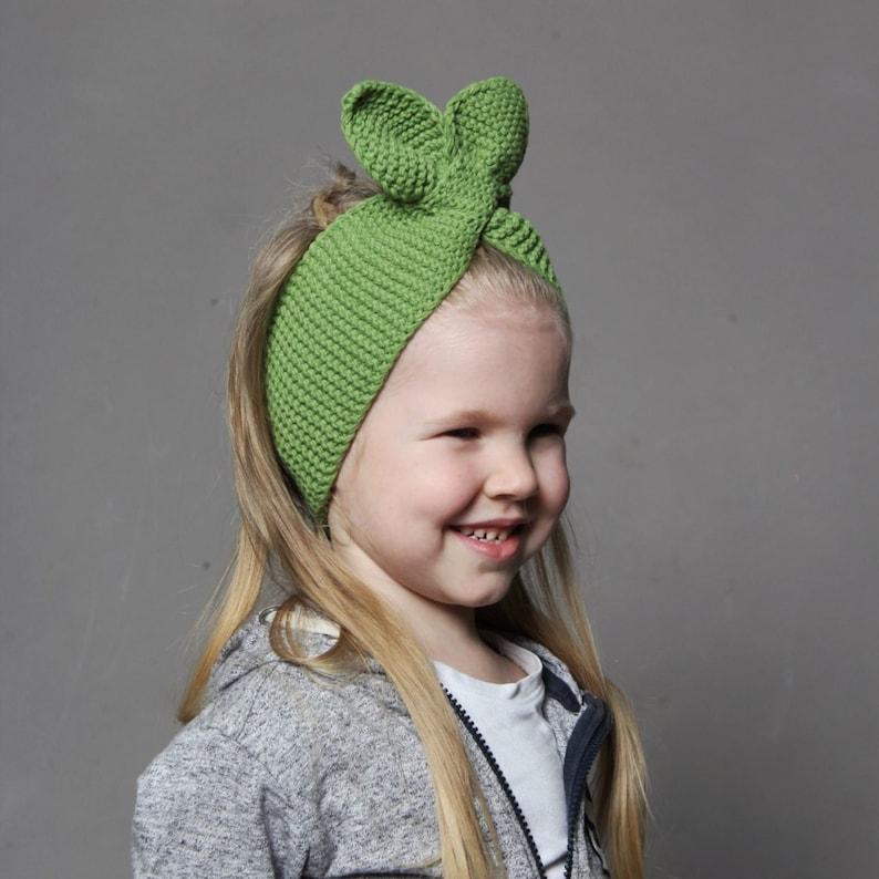 Green boho headwrap Knitted baby bow turban